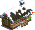 Log Cabin with snow and lights