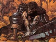 Berserk - Guts resting while holding his sword