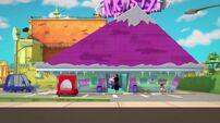 Kids watch Boog enter the Frosty Mart