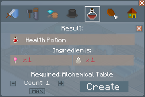 Health Potion - Crafting Screen