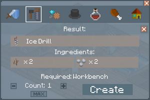 Ice Drill - Crafting Screen