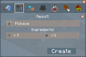 Pickaxe - Crafting Screen