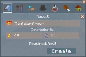 Tantalum Armor Crafting