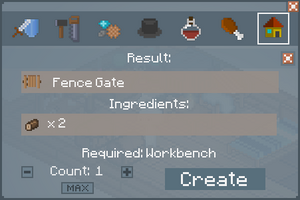 Fence Gate - Crafting Screen