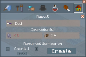 Bed - Crafting Screen