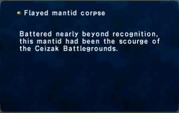 Flayed mantid corpse