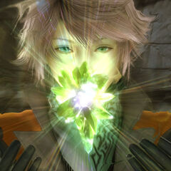 Promotional screenshot of Hope summoning Alexander, notice the pink hair.