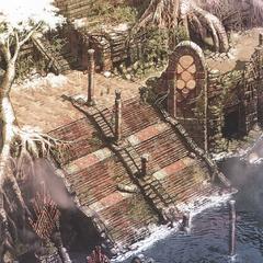 Artwork of the ruins of Oerba.
