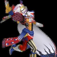 Изображение второго наряда Кефки из <i>Dissidia Final Fantasy</i>, основанное на его изображении в стиле чиби.
