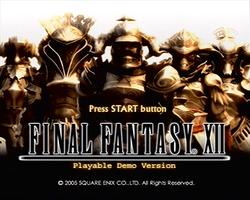 FFXII Demo Title Screen