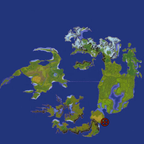 Location of the Cactuar Island, indicated by crosshair.