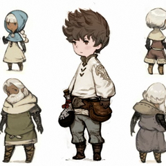Concept art featuring Tiz (center).
