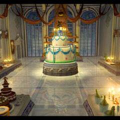 Concept art of Alexandria Castle banquet room.
