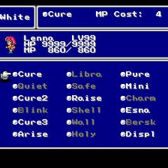 The White Magic menu in the SNES version.