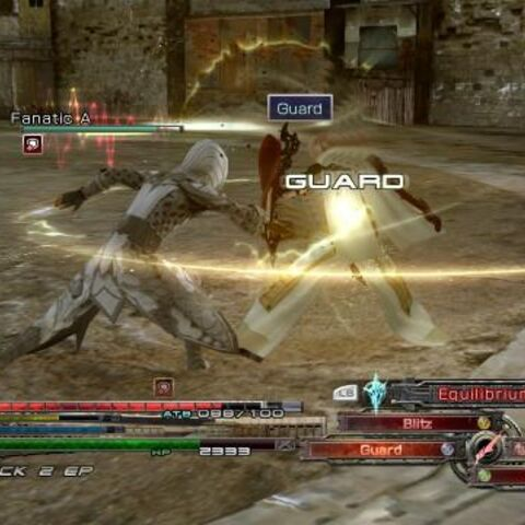 Lightning using Guard to protect herself from an attacking Fanatic.
