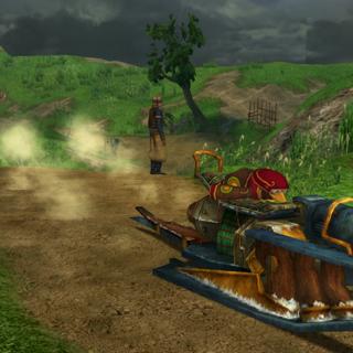 Tobli riding on a mini-hover.