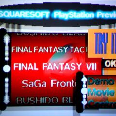 Main menu of the Squaresoft demo disc with the <i>PlayStation Underground</i> Issue 2.