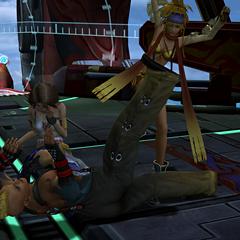 Rikku kicks Brother for his advances on Yuna.