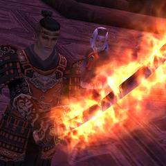 Tenzen's sword imbued with the power of Phoenix.