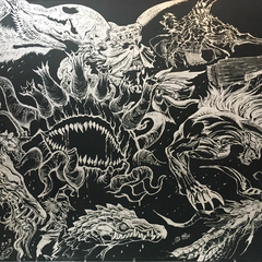 Live artwork of the game's monsters from Tokyo Game Show.