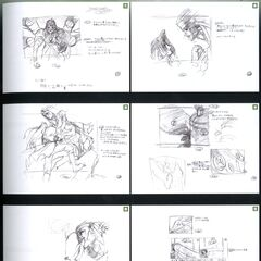 Storyboard for the scene Sephiroth removes the Jenova cover.