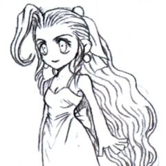 Concept art of Aerith in her Wall Market dress by Tetsuya Nomura.