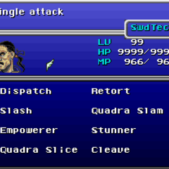 Menu in <i>Final Fantasy VI</i> (SNES).