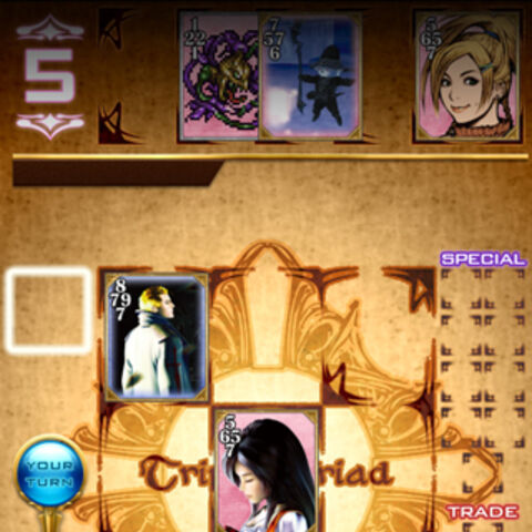 The new Triple Triad game featuring cards of characters from the <i>Final Fantasy</i> series. This picture is from a test version as several cards shown here do not exist in the actual game.