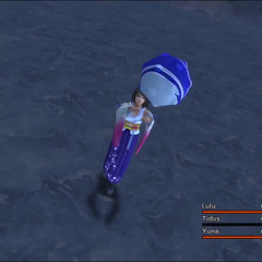 Yuna throwing the blitzball for Tidus.