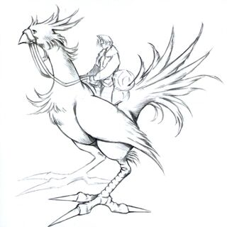Concept art of Squall riding a chocobo.