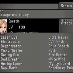 The fourth Status Screen for Quistis, showing Quistis's Limit Break menu.