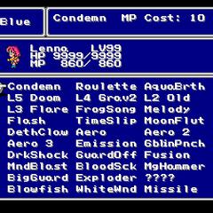 The Blue Magic menu in the SNES version.
