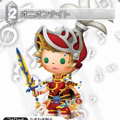 Trading card with Onion Knight's <i>Theatrhythm Final Fantasy</i> character model.