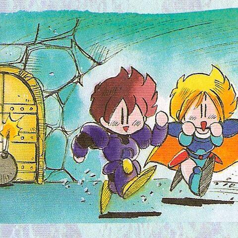 Benjamin and Phoebe set a bomb in <i>Final Fantasy Mystic Quest</i>.