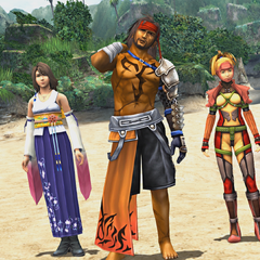 Jecht appearing with Yuna and Rikku in Tidus's dream.