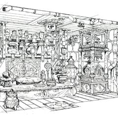 Concept art of the Wall Market Materia Shop.