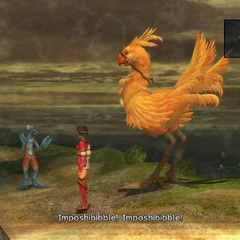 Elma's chocobo getting refused to be on the shoopuf again in <i>Final Fantasy X-2</i>.