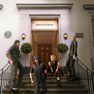 A promotional image of Noctis and his friends outside Abbey Road Studios.