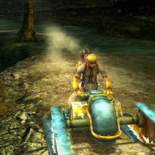 Yuna riding with the Al Bhed in <i>Final Fantasy X-2</i>.