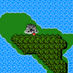 Chaos Shrine on the World Map (NES).