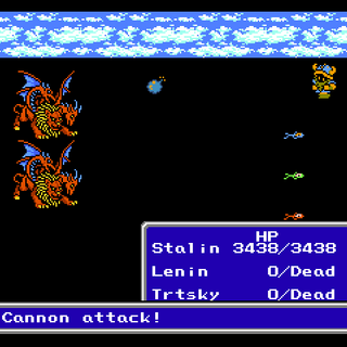 The <i>Invincible</i> using Cannon Attack during battle (NES).