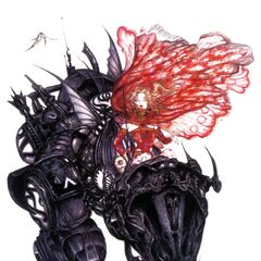 Yoshitaka Amano artwork of Terra riding Magitek Armor for <i>Final Fantasy VI</i> (GBA).