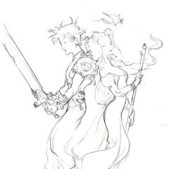 Sketch of Cloud and Aerith by Yoshitaka Amano.