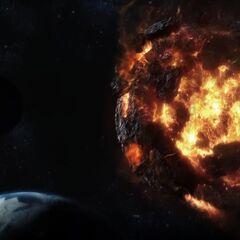 Meteor in a recreated scene in <i>Final Fantasy VII: Advent Children</i>.
