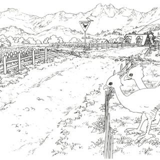 Concept art of the chocobo crossing in Winhill with chocobos.