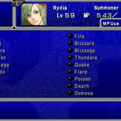 Magic menu in the PSP version.