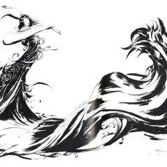 Black and white artwork of the <i>Final Fantasy X</i> logo by Yoshitaka Amano.