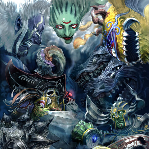 Artwork of the bosses of the Crystal Tower. Glasya Labolas is on the middle right side.