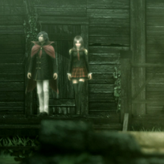 Machina and Rem come out of the Deserted House.