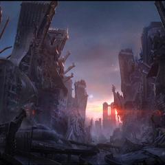 Concept art of Insomnia ruins.
